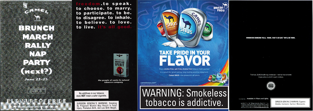 Several images of different tobacco ads targeting the LGBTQ community