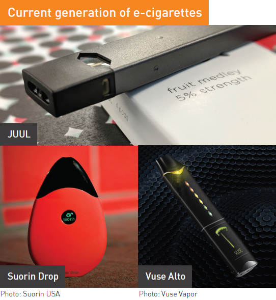 Current generation of e-cigarettes; includes JUUL, Suorin, and Vuse