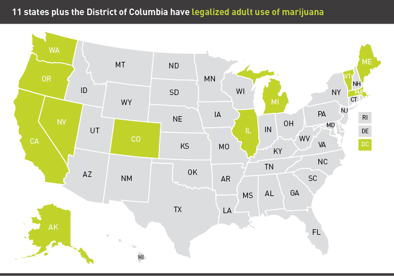Map of states with legalized marijuana