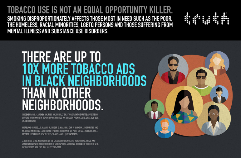 There are up to 10x more tobacco ads in black neighborhoods than in other neighborhoods