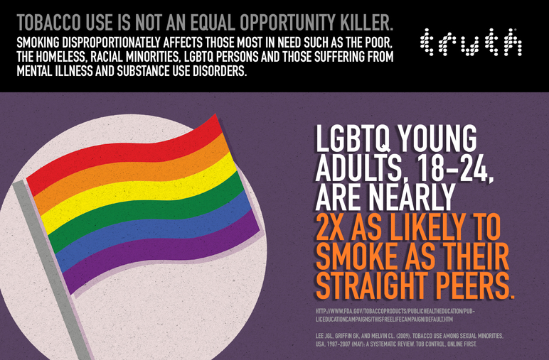 LGBTQ young adults, 18-24, are nearly 2x as likely to smoke as their straight peers.