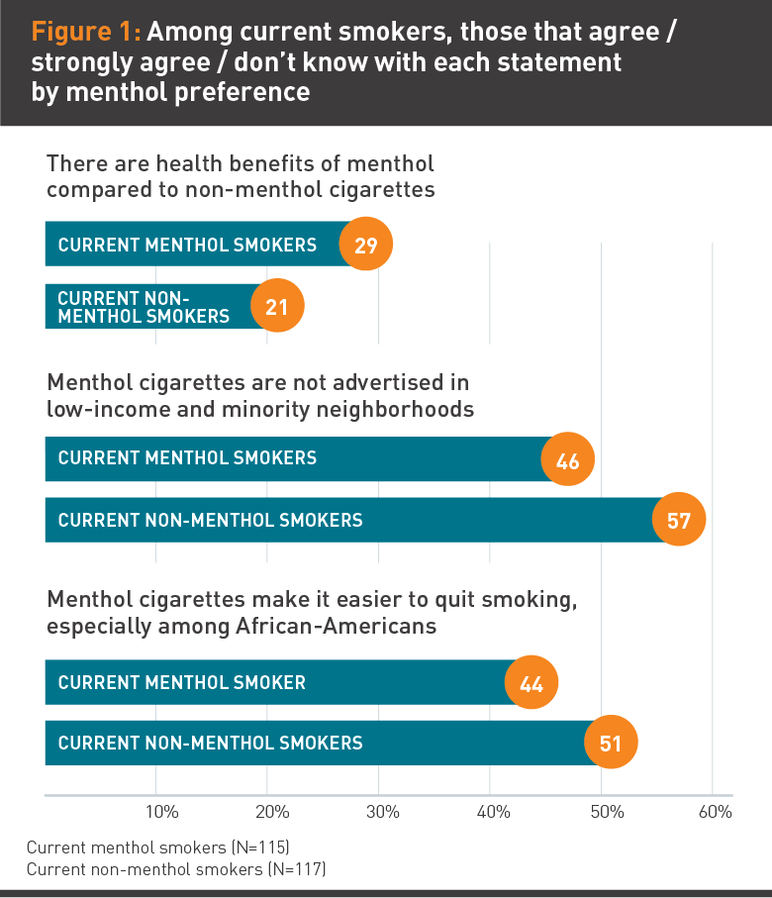 Figure 1: Among current smokers, those that agree / strongly agree / don't know with each statement by menthol preference