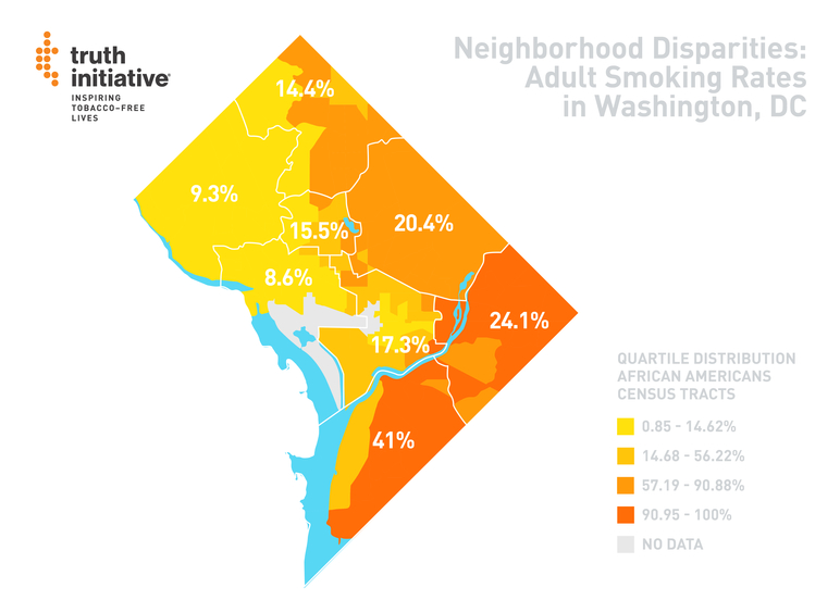 Neighborhood disparities: Adult Smoking rates in Washington, DC