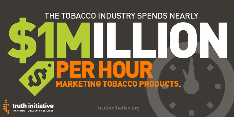 The tobacco industry spends nearly $1million per hour