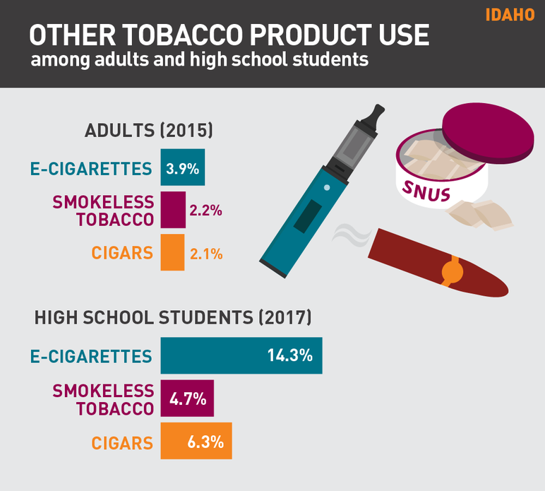 Idaho other tobacco product use among adults and high schools students
