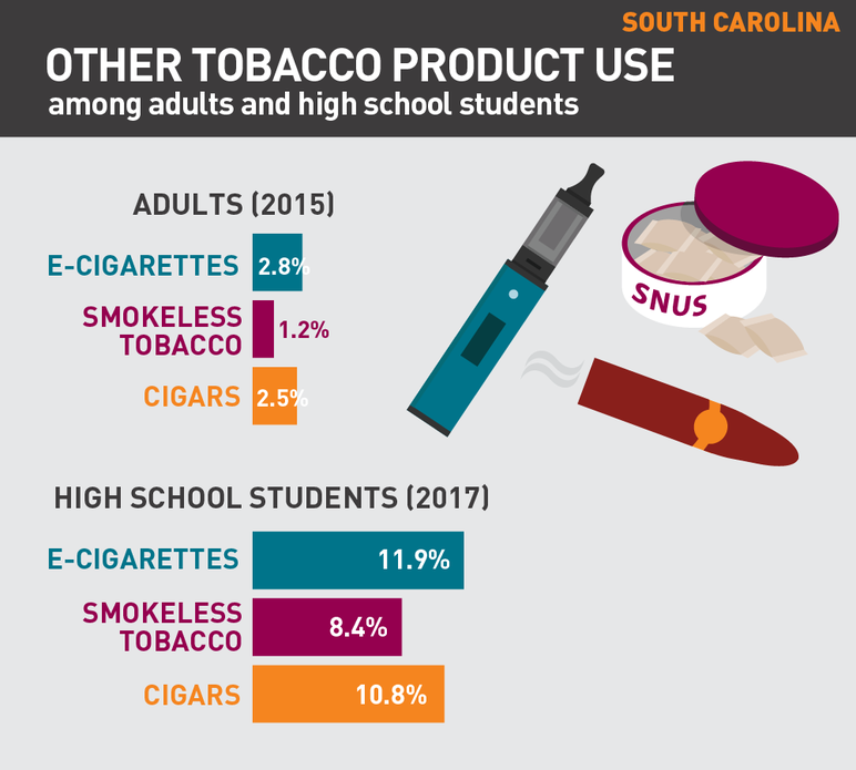 South Carolina Other tobacco product use among adults and high school students