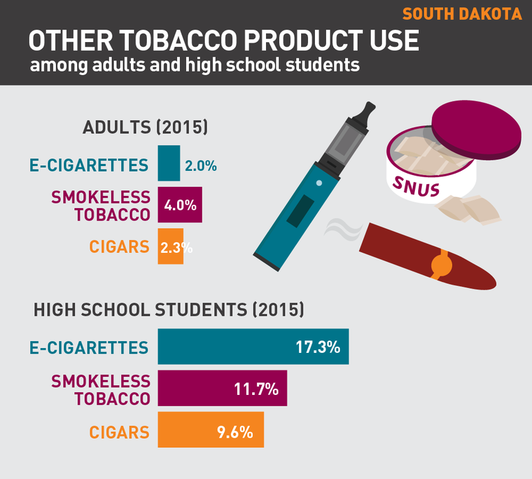 South Dakota other tobacco product use among adults and high school students
