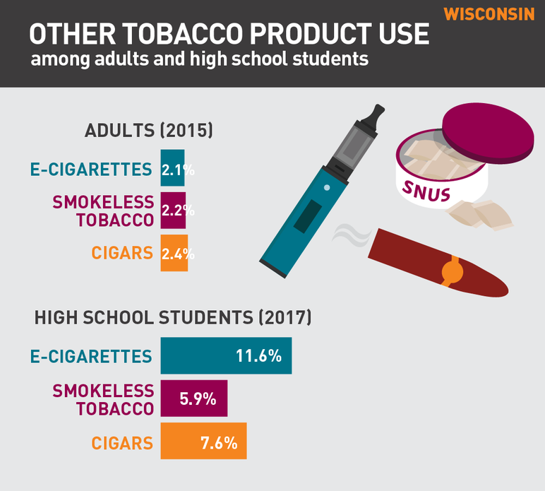 Wisconsin Other tobacco product use among adults and high school students
