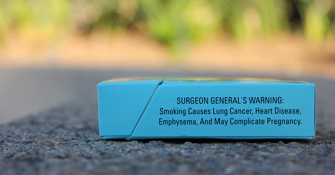 corrective statement surgeon general's warning pack on sidewalk