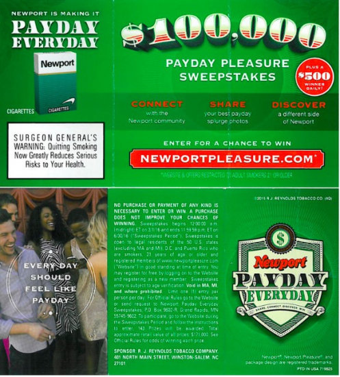 newport payday pleasure sweepstakes