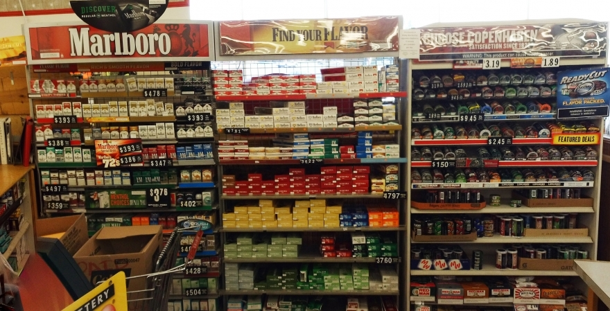 Retailer cigarette counter