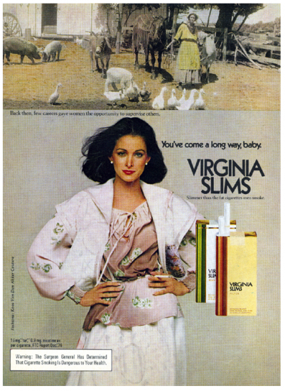 Virginia Slims you've come a long way, baby ad